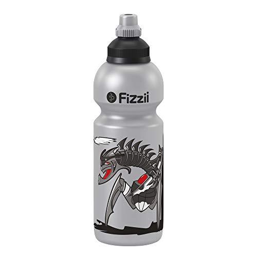 Fizzii Kinder- und Freizeittrinkflasche 600 ml (auslaufsicher bei Kohlensäure, schadstofffrei, spülmaschinenfest, Motiv: Transformer)