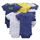 5 Piezas Bebé Body Mono de Manga Corta Mameluco Algodón Recién Nacido Pijama Bebés Juegos de Regalo, 6-9 Meses