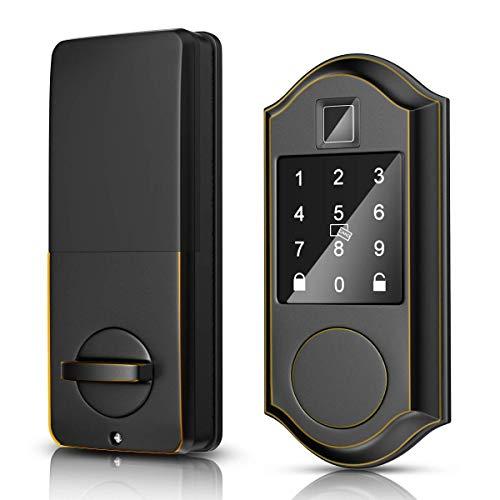 Narpult Smart Door Lock, Fingerprint Electronic Deadbolt Door Lock, Keyless Entry Door Lock Featuring Auto-Locking, Smart Door Lock for APP/FOBS/Biometric/Codes/Keys, Works with Alexa - Bronze ORB