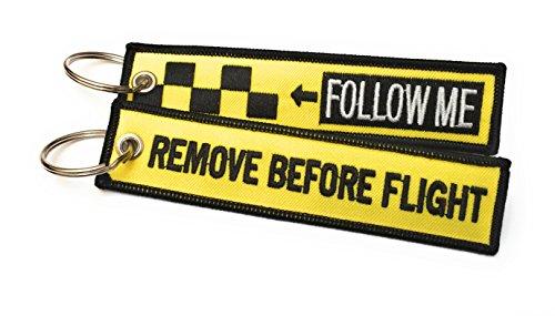Follow Me/Remove Before Flight Portachiavi   Set di 2   Etichetta Del Bagaglio   100% Ricamato   Nero/Giallo   aviamart®