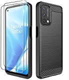 Dzxouui Compatible for Oneplus Nord N200 5G Case with 2 Pack Screen Protector,Oneplus Nord N200 5G Case Cover,Protective Cover Shockproof Soft TPU Phone Cases for One Plus Nord N200 5G(DL-Black)