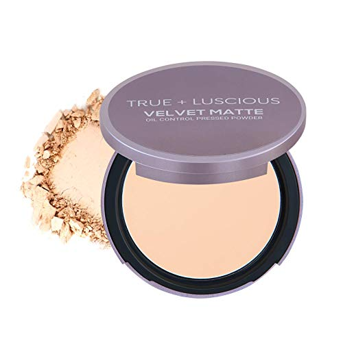 True + Luscious Velvet Matte Oil-Control Face Powder Compact - Vegan, Cruelty Free, Paraben Free. Multi-use Powder Foundation - 0.35 oz (Shade 1: Light w/Neutral Undertones)