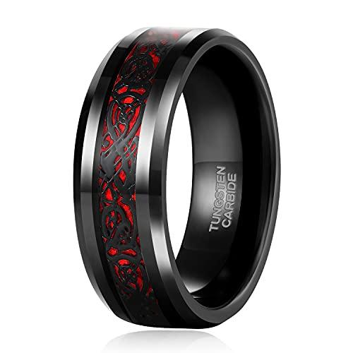 8mm Mens Red Carbon Fiber Black Celtic Dragon Tungsten Carbide Ring Wedding Band Comfort Fit Size 10