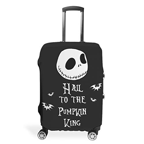 BOBONC Luggage Covers Washable Spandex Baggage Suitcase Cover Anti-Water Baggage Protective Case Nightmares - Hail to The Pumpkin King Printed White m(22-24 inch)