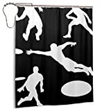 Generic Brands Playing Ultimate Frisbee Silhouettes Bathroom Shower Curtain Durable Fabric Shower Curtain Waterproof Bathroom Curtain 60x72 inches