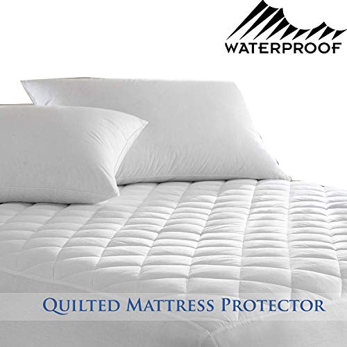 HANSON AND LANGFORD Waterproof Mattress Protector - Easy Care 4ft Small Double King Diamond Quilted Cover | 30cm Deep Fitted Bedding Protector | Non-Allergenic, Anti Dustmite & Absorbent (Double)