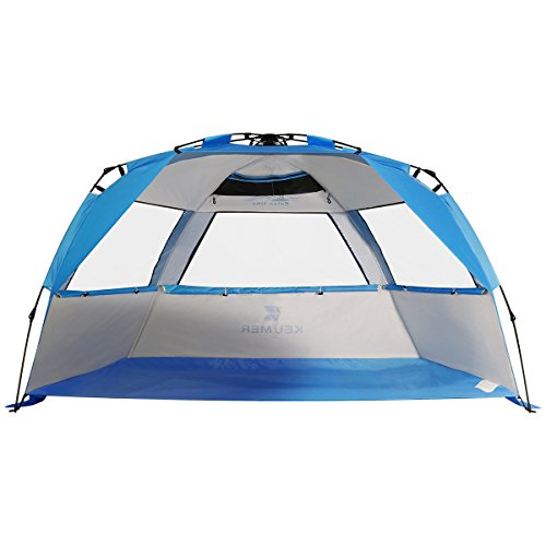 G4Free Easy Set up Beach Tent Deluxe XL UPF 50+ UV Protection Family Beach Shade
