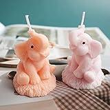 juntao Molde de silicona para vela de elefante, 3D, para hacer velas, moldes de resina hechos a mano, para moldes de cera de yeso (color al azar)