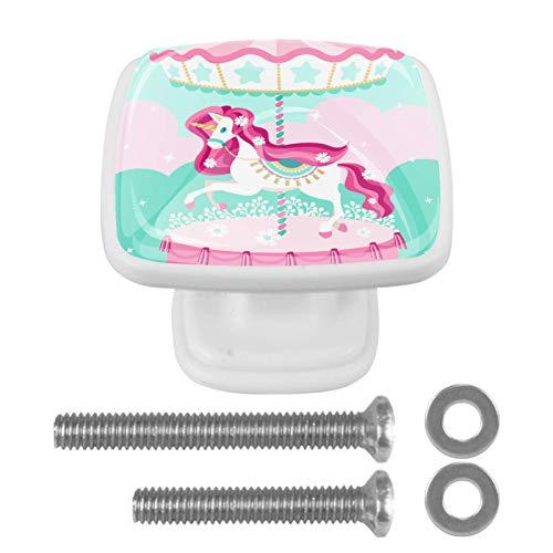 4 STKS Laden Knoppen Meubelknoppen Lade Handgrepen Leuke Knoppen voor Kast Lade Keuken Wit voor Kinderen Jongens en Meisjes Carrousel 1.2x0x0.8 inch