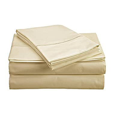 CHATEAU HOME COLLECTION 800-Thread-Count Egyptian Cotton Deep Pocket Sateen Weave Queen Sheet Set, Ivory