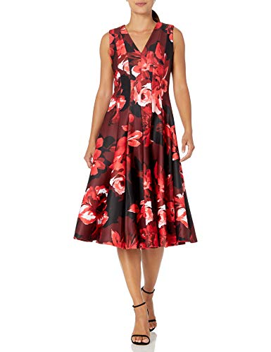 Calvin Klein Women's Sleeveless A-Line Dress with V Neckline, Red Multi, 2