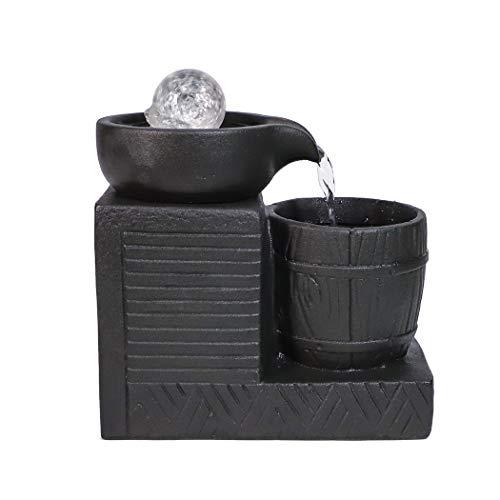 Ferrisland 卓上噴水 インテリア置物 LEDライトテーブルトップファウンテン 癒しの空間づくり 屋内の卓上装飾 質素流れる水の噴水の置物 開運 風水 工芸