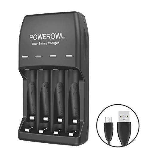 POWEROWL Batterieladegerät für NI-MH AA/AAA Akkus mit USB-Port Akkuladegerätfür Akkubatterien