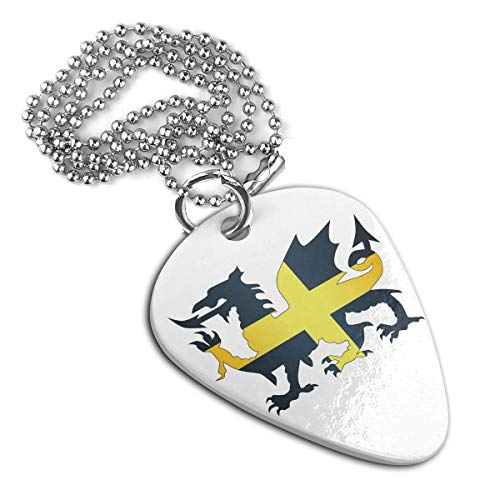 JJCSTE.C Dragon Flag Od Saint David of Wales A Personalized Stainless Steel Guitar Pick Necklace Pendant Dog Tag Pet Card Keychain