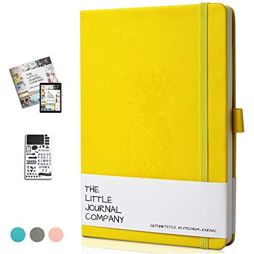 Bullet Journal - Dotted Notizbuch A5 Gepunktet- Notizbuch mit Schablone - Premium-Planer/Planner Tagebuch Diary Scrapbook Notebook zum Gestalten - Dickes Papier A5 - (Gelbe Ananas)