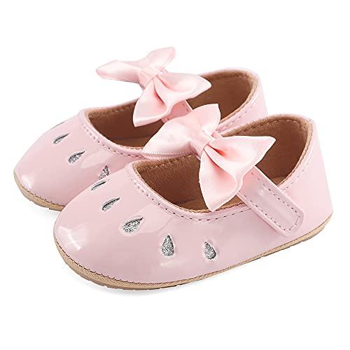 LACOFIA Niemowlęce niemowlęce dziewczęce buty w kształcie litery T z kokardką, różowy - F Ró?owy - 12-18 Miesi?cy