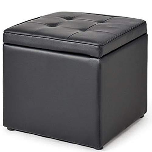 MXSXO Asiento otomano Cuero Taburete de Almacenamiento Multifunción Puede Sentarse Casa Madera Maciza Cuadrado 40x40x40cm (Color : Black)