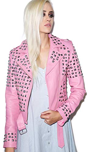 LP-FACON Brando - Chaqueta de motociclista de piel auténtica para mujer, color rosa