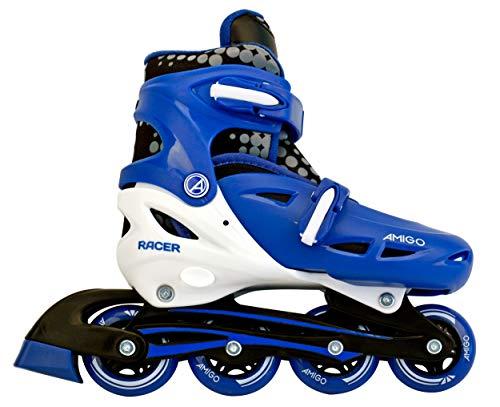AMIGO Racer Inline-Skates - Inline für Jungen und Mädchen - Rollschuhe mit Einstellbarer Größe - ABEC7 Rollen - Weiß/Blau - Größe 30-33
