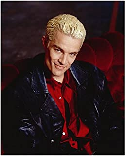James Marsters 8 x 10 Photo Buffy The Vampire Slayer Black Leather Jacket Red Shirt Sitting on Red Couch Sexy Flirty Smile kn