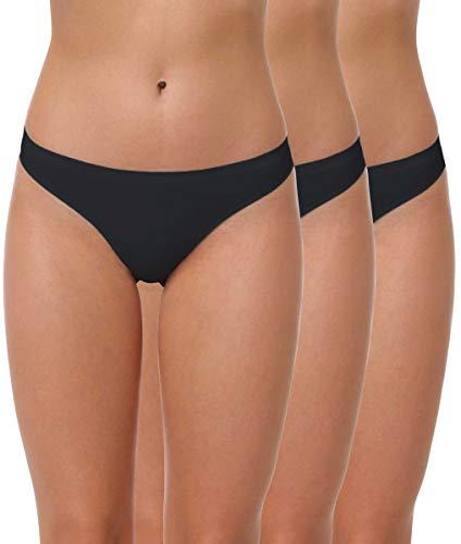 Yenita 3er Pack Damen String Invisible, Tanga ohne Nähte aus Mikrofaser, schwarz, Gr. XL