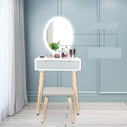 Puluomis Schminktisch LED-Beleuchtung Kosmetiktisch mit gepolstertem Hocker Frisiertisch Spiegel Schublade Kommode Make-up Tisch, Wohnzimmer, Modern(1 Schublade, Grau, Oval)