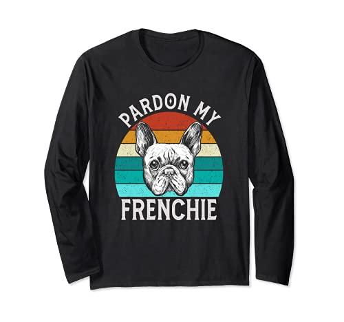 Vintage Pardon My French Retro Frenchie Yoga French Bulldog Long Sleeve T-Shirt