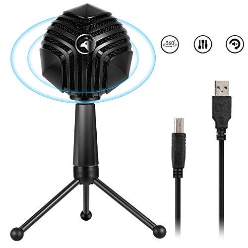USB Condenser Microfoon Ball-vormige Mic met Desktop Mini Metalen Statief Stand, 3 pickup modi, voor PC Laptop Spelletjes