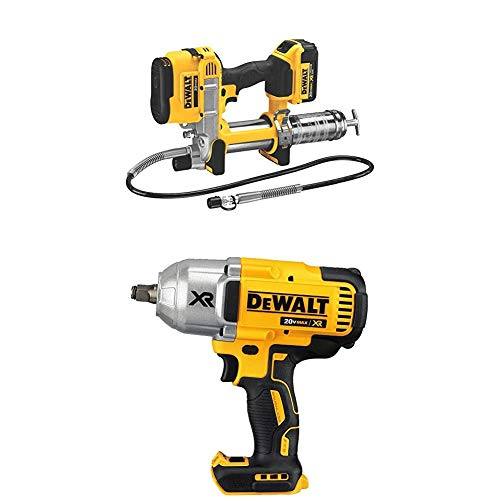 """DEWALT DCGG571M1 20-volt MAX Lithium Ion Grease Gun with 20V MAX XR Brushless High Torque 1/2"""" Impact Wrench with Hog Ring Anvil"""