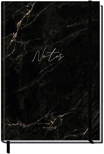 Notizbuch A5+ kariert mit Gummiband [Schwarzer Marmor] von Trendstuff by Häfft | 156 Seiten, 78 Blatt | als Bullet Journal, Tagebuch, Notizheft | nachhaltig & klimaneutral