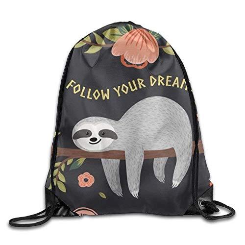 CHSUNHEY Bolsos de Lazo,Mochilas,Sloth My Spirit Animal 3D Print Eco-Friendly Luggage Drawstring Backpack...