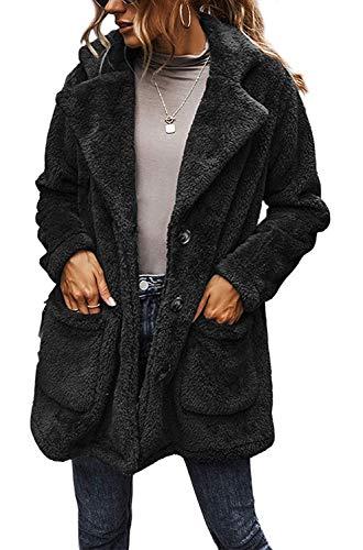 BUOYDM Cappotto Giacca Donna Giacca in Peluche Invernale Parka Elegante Outerwear Caldo Lapel Giacche Cappotti Nero L