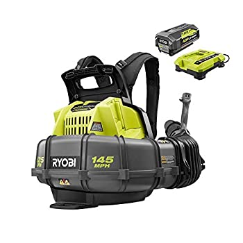Ryobi RY40440 40 Volt 145 MPH 625 CFM Cordless Brushless Variable Speed Backpack Leaf Blower with Lithium-Ion Battery and Charge Kit