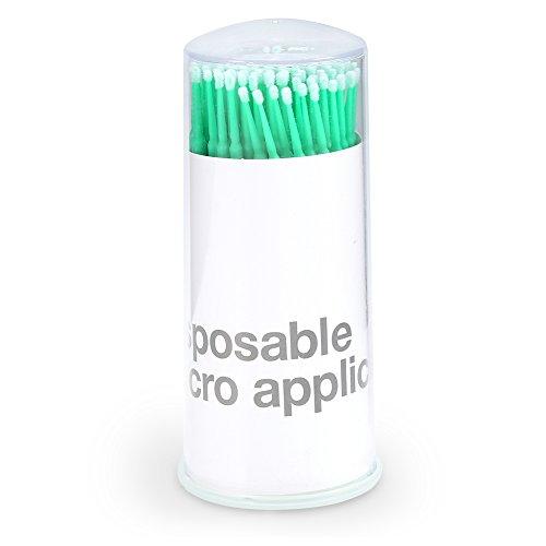Micro aplicadores cepillos 3 tipos 100 unids caja mujeres Micro extensión desechable cepillo de máscara de pestañas pegamento palo de limpieza(Middle Green)