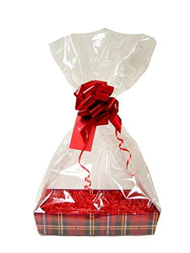 RODE DIY kerstcadeau mand belemmert kit - TARTAN kartonnen dienblad, rood papier, rode strik, cellofaan zak & rood geschenklabel (groot - 35 cm x 24 cm x 8 cm hoog)