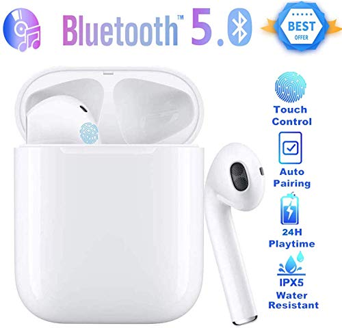 EarPods 5.0 Wireless Bluetooth Sweat Proof Head Phones with Charging Portable Storage case (Black) with Touch Tone Sensitivity and Easy Pairing Noise Cancellation with Microphone for Hands Free