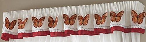 Butterflies 21 Schmetterlinge Bleistiftfalten Küche Querbehang, weiß/orange, 136x 25,4cm