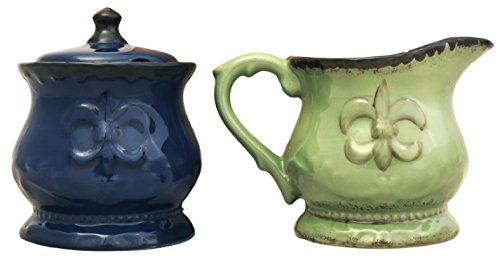 Tuscany Fleur De Lis Creamer and Sugar Set by A.C.K. Trading Co.