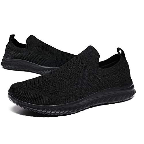 [JIAFO] スリッポン メンズ レディース スニーカー ウォーキングシューズ 幅広 紐なし 超軽量 大きいサイズ ランニングシューズ トレーニングシューズ 歩きやすい 滑り止 ナースシューズ 婦人靴 運動靴 通勤 男女兼用22.5cm~28cm (ブラ
