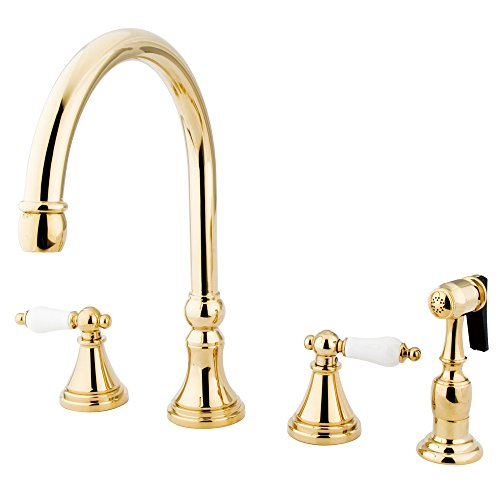 "Nuvo Elements of Design ES2792PLBS Governor 8"" to 16"" Widespread Kitchen Faucet with Brass Sprayer, 8-1/4"", Polished Brass"