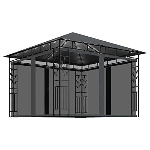 Gazebo, jardín Gazebo Carpa Carpa para Fiestas Toldo de Playa al Aire Libre Refugio instantáneo Comercial Gazebo con mosquitera y guirnaldas de Luces 3x3x2,73 m Antracita 180 g / m²