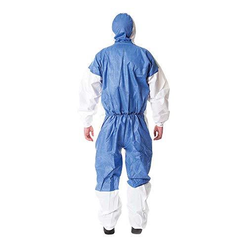 3M 4535 Indumento di protezione 5/6, laminato microporoso polietilene/SMMMS, Bianco/Blu, Taglia L