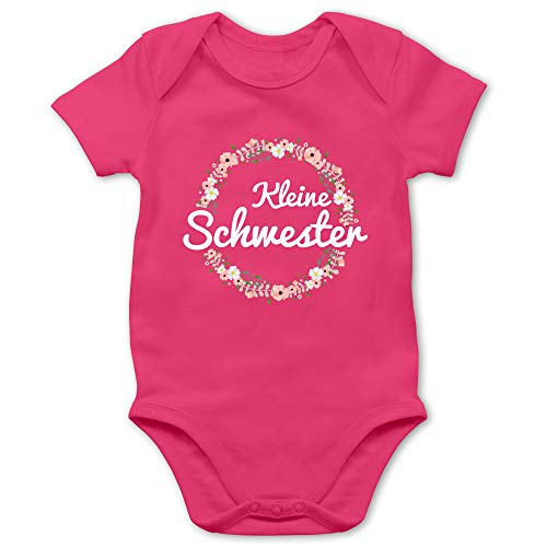 Shirtracer Geschwisterliebe Baby - Kleine Schwester Blumenkranz - 1/3 Monate - Fuchsia - große Schwester Body - BZ10 - Baby Body Kurzarm für Jungen und Mädchen