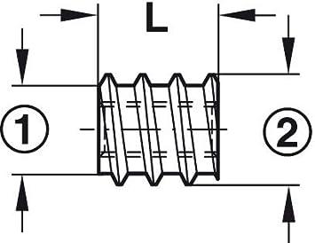 Wenxiaw Einschraubmuffen M6 Hex Innensechskantmuttern Gewindeh/ülse M6 Einschlagmutter Innensechskant Verzinktes Carbon Stahl Innensechskant Schraube f/ür Holz M/öbel M6*15mm 50 St/ücke