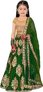 Craqline Fashion Girl's Satin Semi-stitched Lehenga Choli and dupatta set (9-13) Year