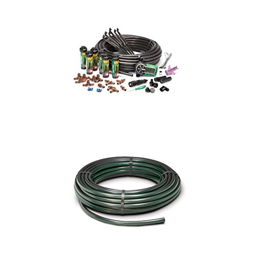 Rain Bird 32ETI Easy to Install In-Ground Automatic Sprinkler System Kit WITH Rain Bird T63-100 Drip Irrigation 1/2