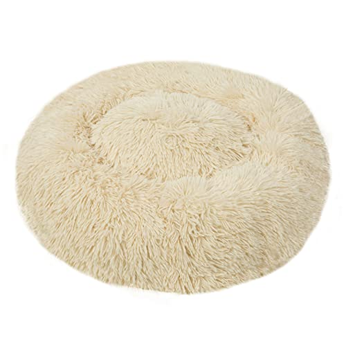 Blivener Cama para mascotas de peluche para gatos y perros, acogedora, suave, redonda, para dormir para mascotas, en forma de Doughnut