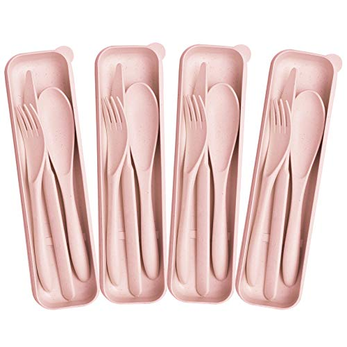 4 Pack Travel Utensil Set with Case, Wheat Straw Reusable Spoon Knife...