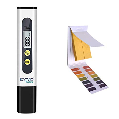 Konvio Neer Imported Tds Meter for RO Water/TDS Testing Meter, Digital LCD Tds Meter, Water Filter Tester for Measuring Tds/Temp/Ppm with Carry Case (TDS & PH Strip)