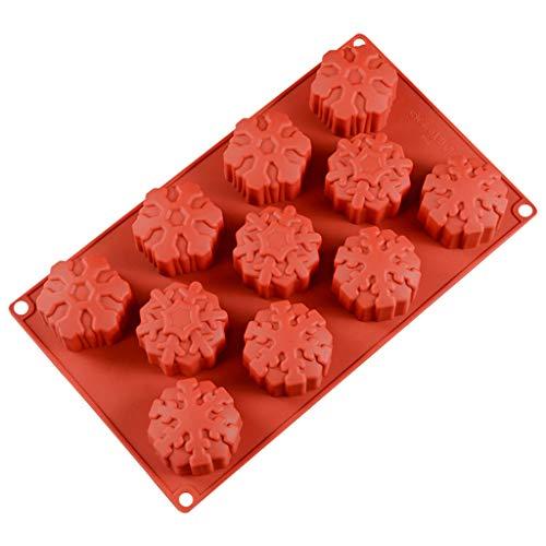 Scdincier - Moldes de Silicona para Tartas (11 Rejillas en 3D), diseño de Copo de Nieve